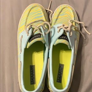 Sperry Shoes - Yellow and baby blue printed Sperry